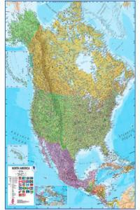 Mapa mural america del norte centro fisico politico