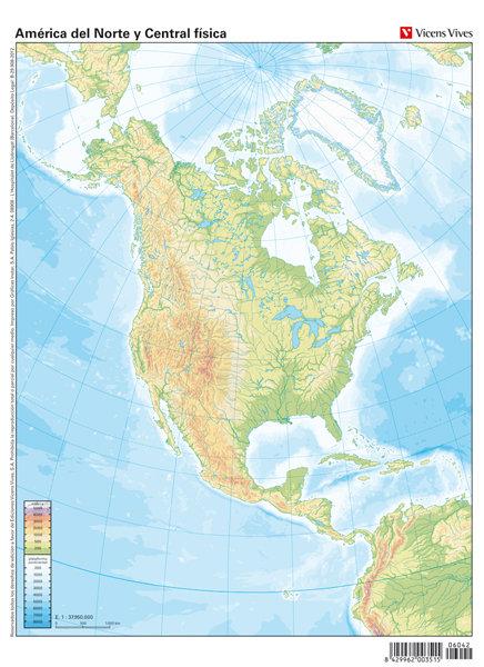 Mapa mudo america norte(centro)fisico color       vic
