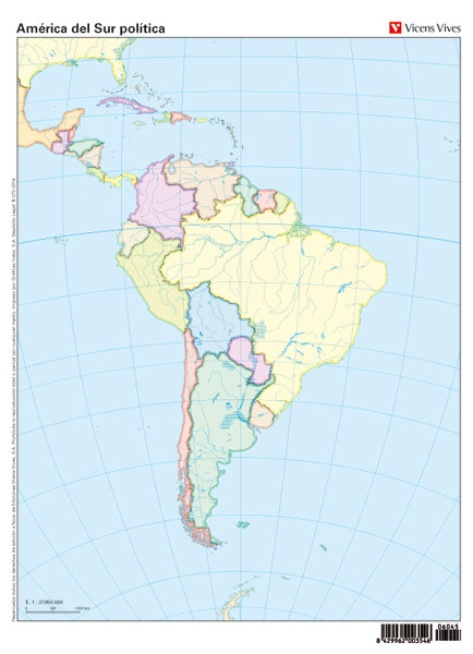 Mapa mudo america sur politico color              vic