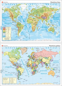 Mapa mural planisferio fisico/politico con leyenda