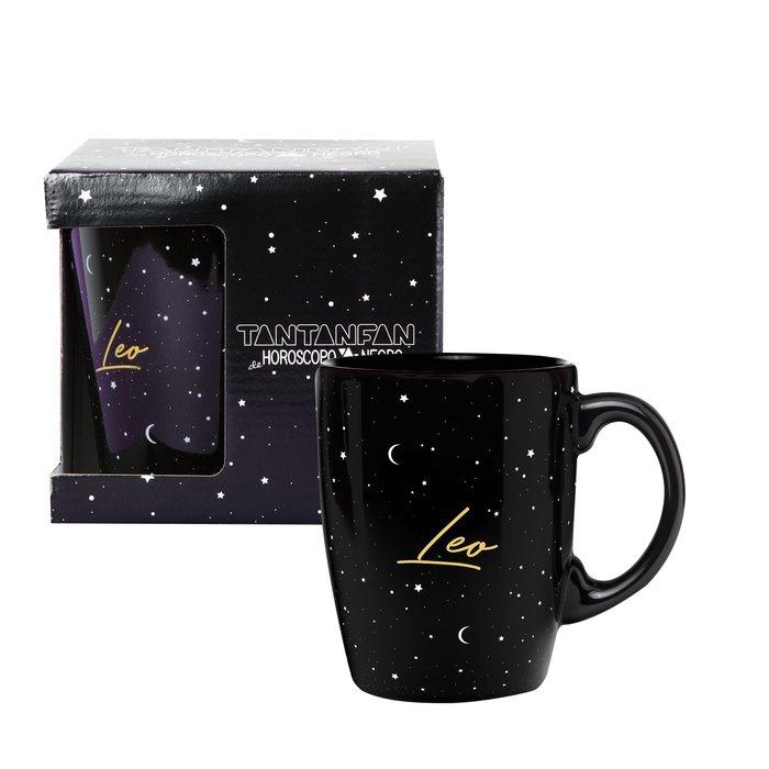 Taza mug horoscopo negro leo
