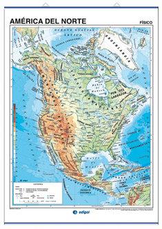 Mapa mural america del norte fis/pol 100x140 doble cara