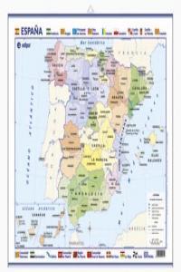 Mapa poster españa fisico politico 50x70
