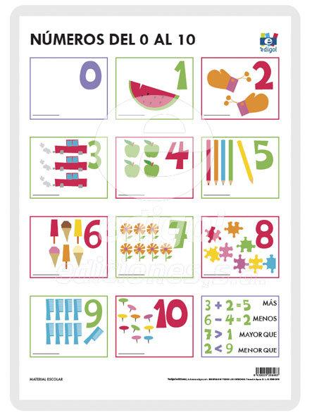 Lamina a3 infantil numeros del 0 al 10 muda (42x29)