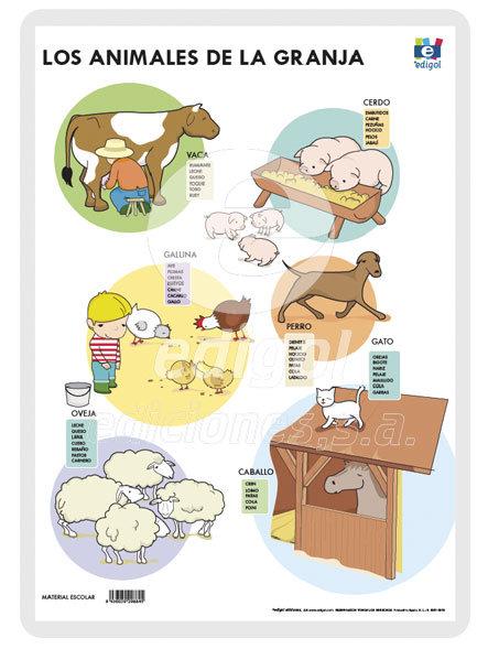 Lamina a3 infantil animales granja (42x29) me gusta saber