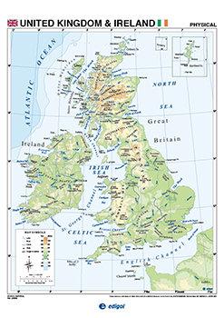 Lamina a3 united kingdom ireland fis/pol (42x29)cartografia