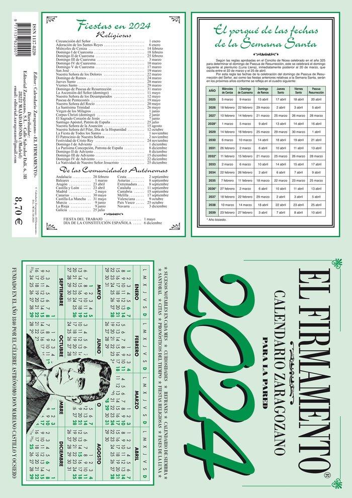 Calendario zaragozano 2022 pared firmamento
