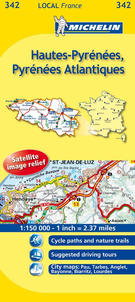 Mapa local hautes-pyrenees, pyrenees-atlantiques