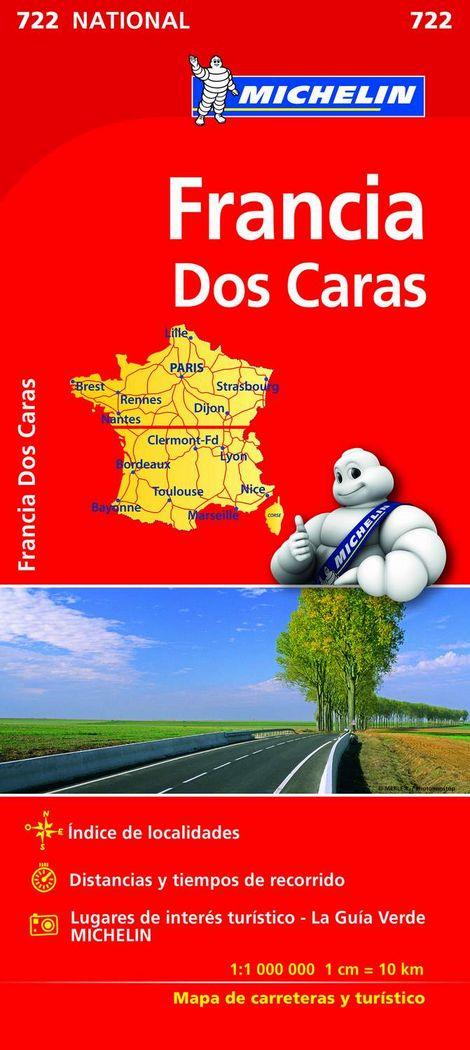 Mapa michelin national francia doble cara