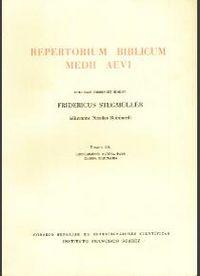 Repertorium biblicum medii aevi. tomus ix. suplementi altera