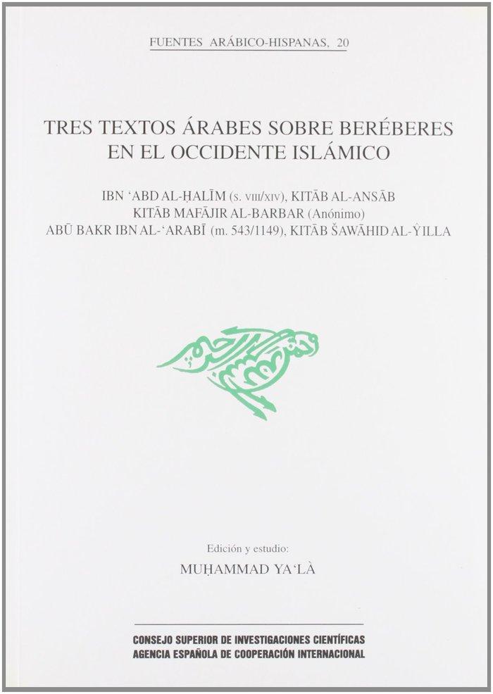 Tres textos arabes sobre bereberes occidente islamico