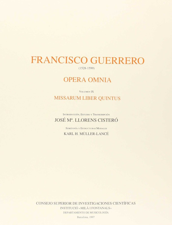 Opera omnia ix missarun liber quintus
