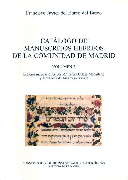 Catalogo manuscritos hebreos vol ii comunidad de madrid