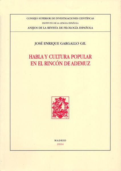 Habla y cultura popular en el rincon de ademuz
