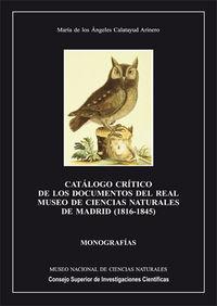 Catalogo critico de los documentos del real museo de ciencia