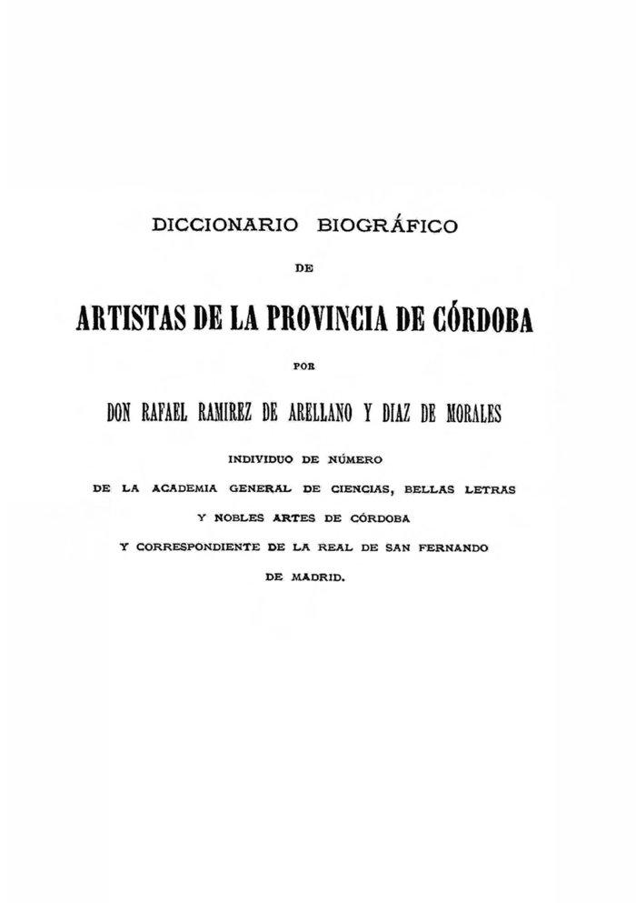 Diccionario biografico de artistas de la provincia de cordob