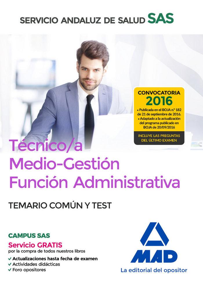 Tecnico/a medio-gestion funcion administrativa del sas opcio