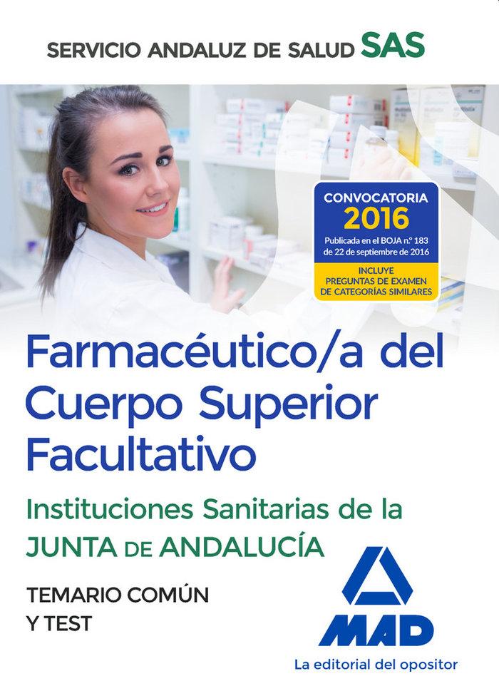 Farmaceutico/a cuerpo superior facultativo sas temario test