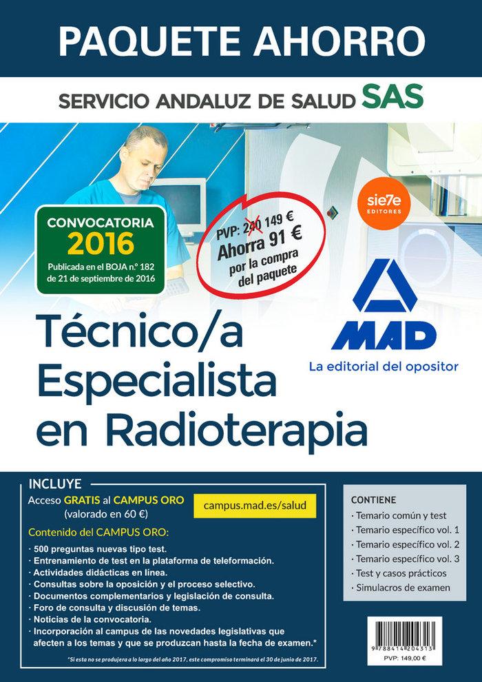 Paquete ahorro tecnico especialista radioterapia sas