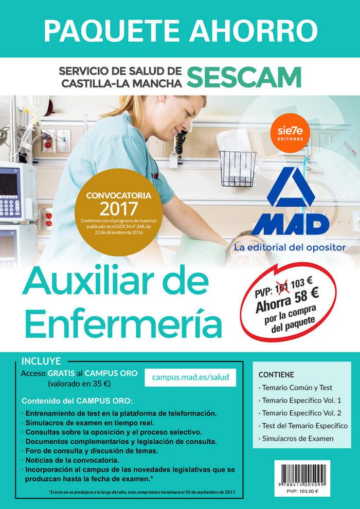 Paquete ahorro auxiliar enfermeria servicio salud c.mancha