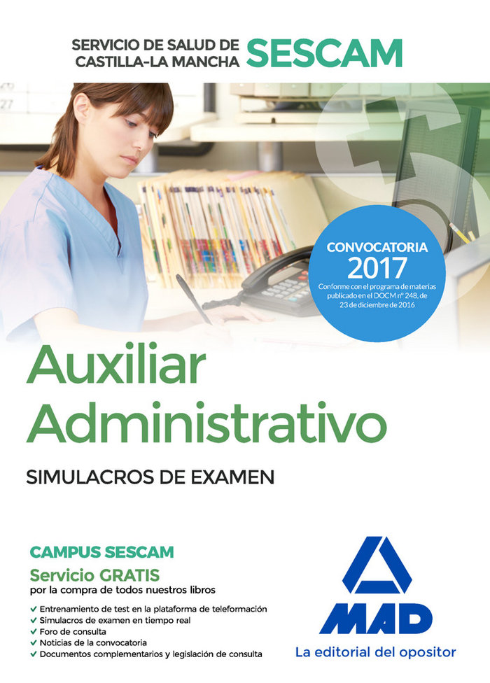 Auxiliar administrativo salud castilla la mancha examen