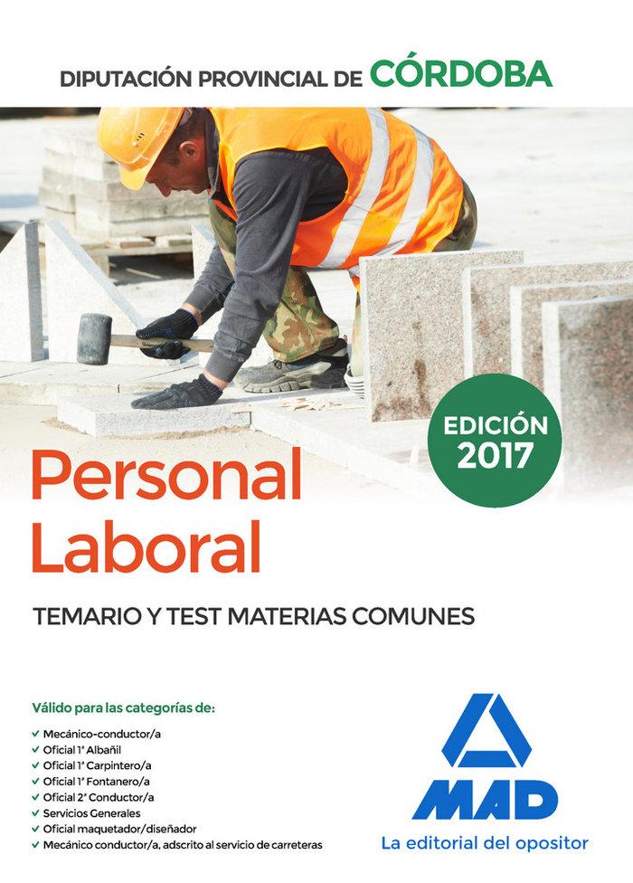 Personal laboral diputacion cordoba temario y test comun