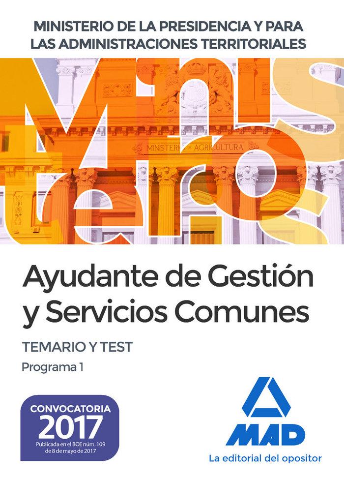 Ayudante gestion y servicios comunes ministerio presidencia