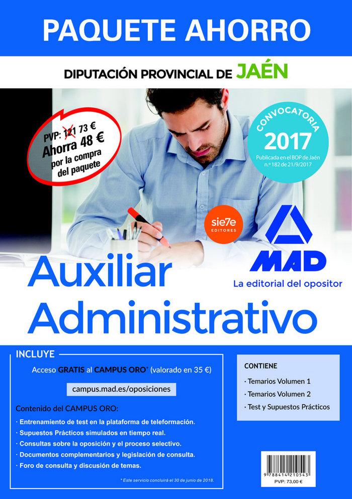 Auxiliar administrativo diputacion jaen 2017 pack ahorro