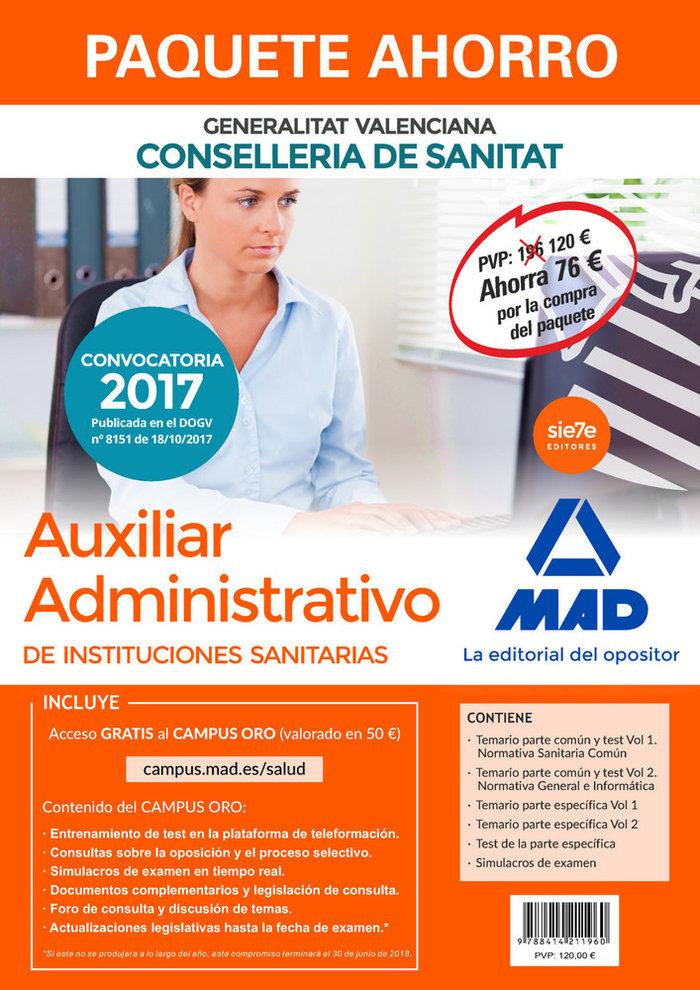 Paquete ahorro auxiliar administrativo de instituciones sani