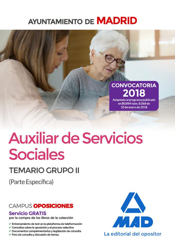 Auxiliar servicios sociales ayto madrid grupo ii especifico