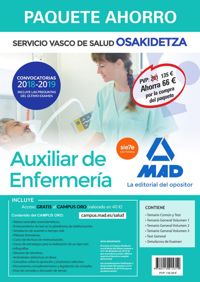 Paquete ahorro auxiliar de enfermeria de osakidetza. ahorro