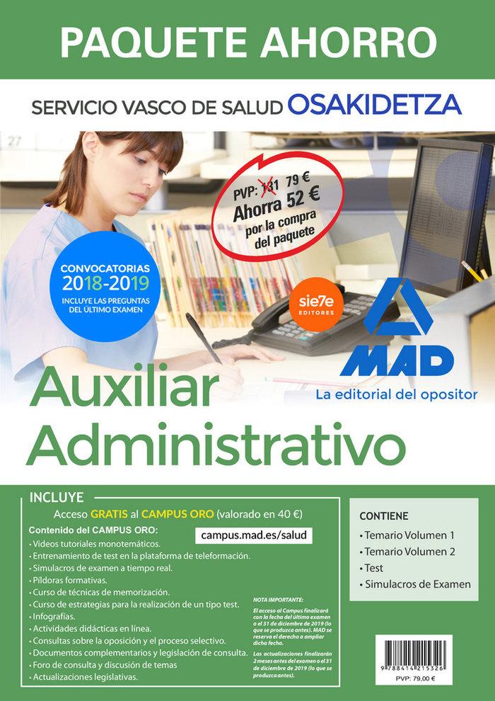 Paquete ahorro auxiliar administrativo de osakidetza. ahorro