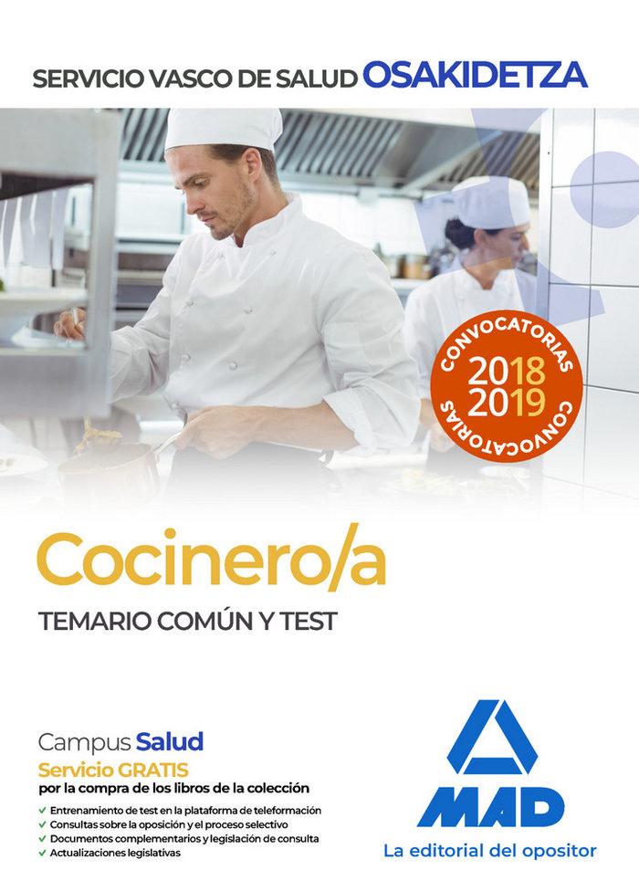 Cocinero osakidetza temario comun y test