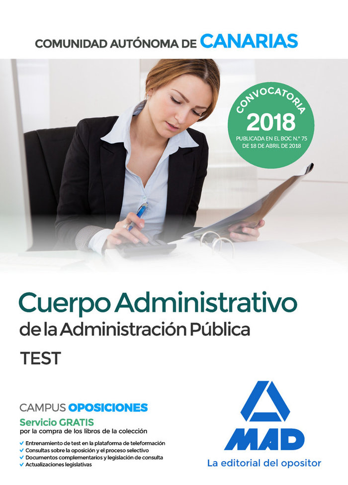 Cuerpo administrativo administracion publica test canarias