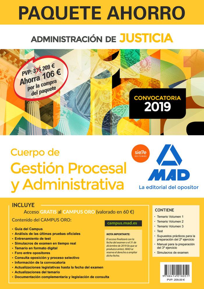 Paquete ahorro gestion procesal y administrativa turno libr