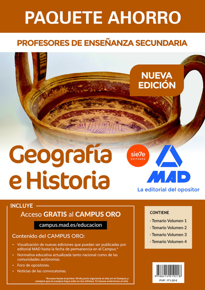 Paquete ahorro geografia e historia cuerpo profesor secunda