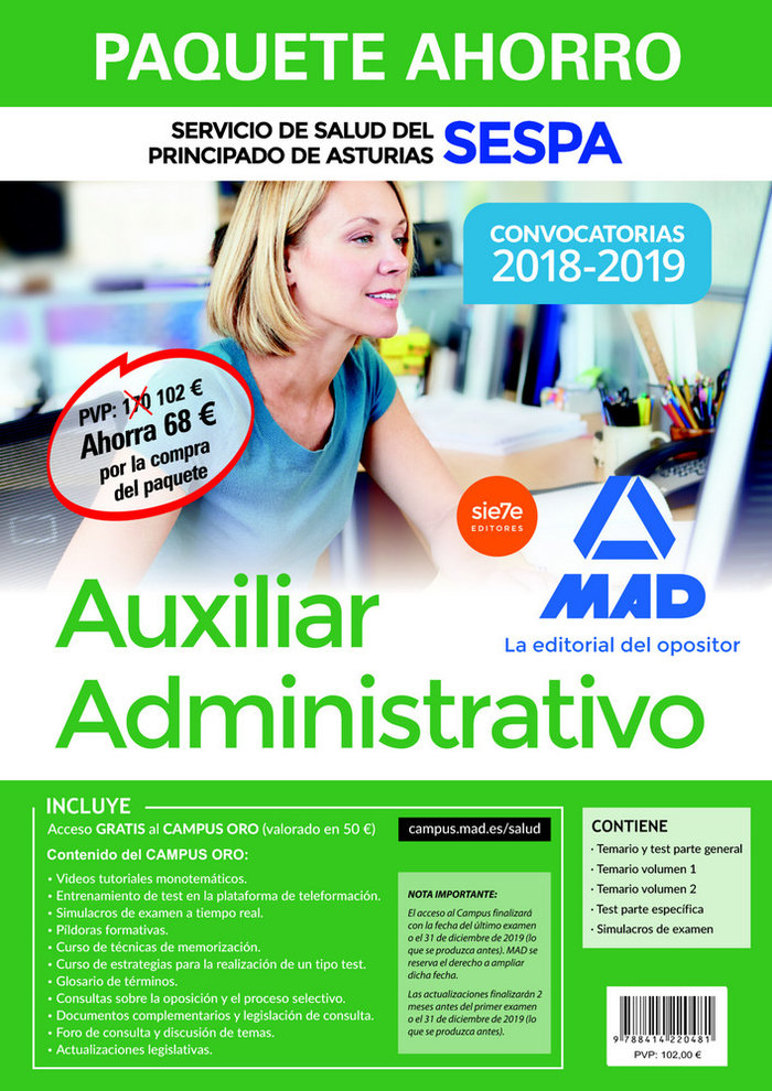 Paquete ahorro auxiliar administrativo servicio salud astur