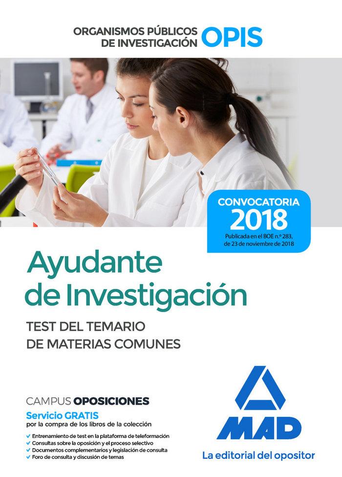 Ayudante investigacion organismos publicos test temarios