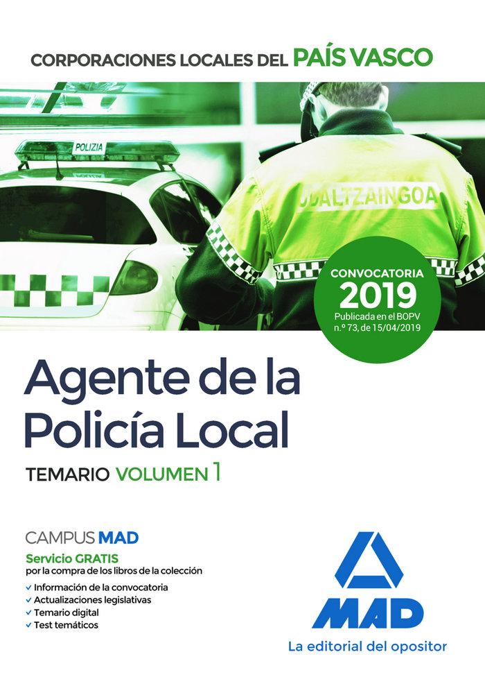 Agente de la policia local del pais vasco temario volumen 1