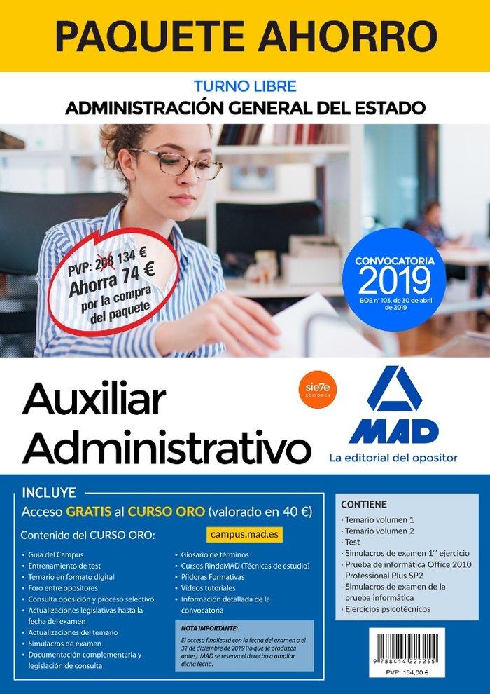 Paquete ahorro auxiliar administrativo del estado 2019