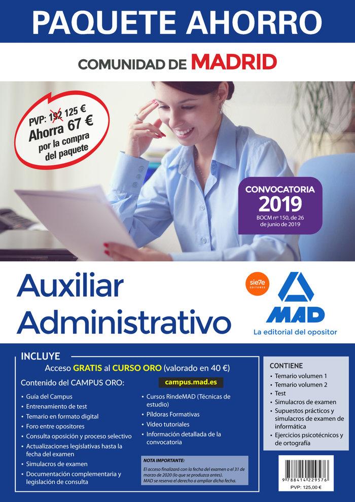 Paquete ahorro auxiliar administrativo madrid 2019