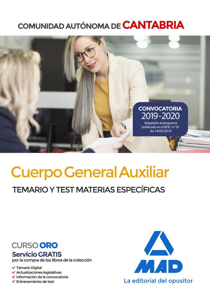 Cuerpo general auxiliar comunidad cantabria temario y test