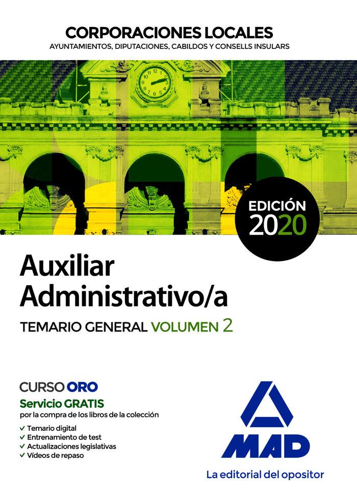 Aux administrativo corporaciones locales temario vol 2 2020