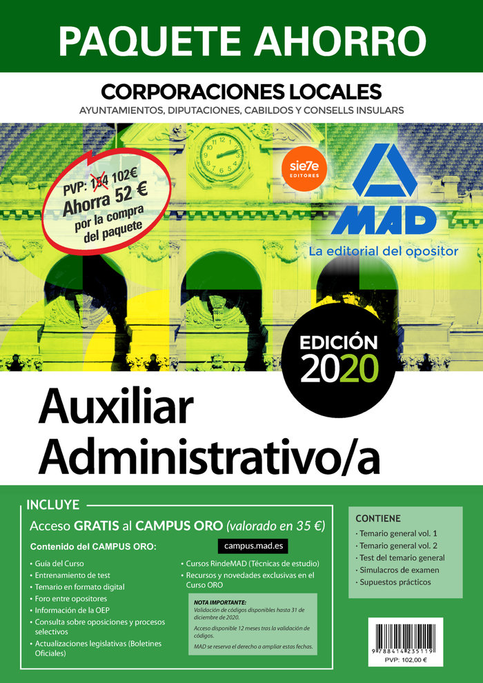 Paquete ahorro aux administrativo corporaciones locales2020