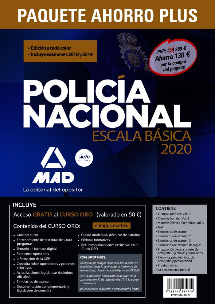 Paquete ahorro plus escala basica policia nacional 2020. aho