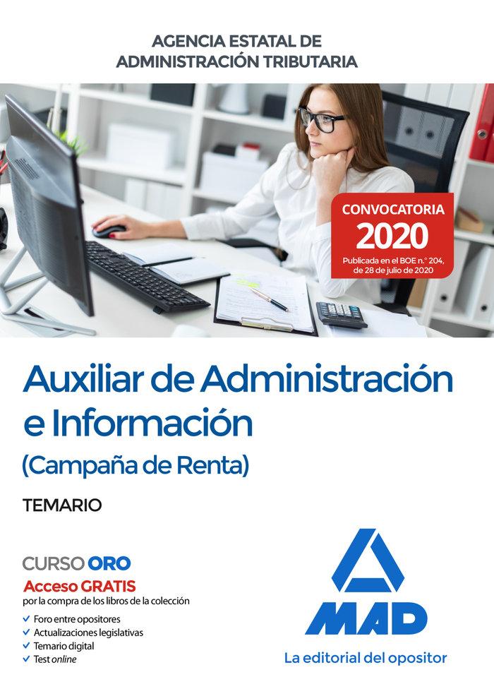 Auxiliar administracion e informacion campaña renta temario