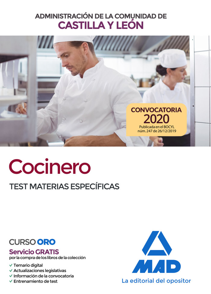 Cocinero administracion c. leon test materias especificas