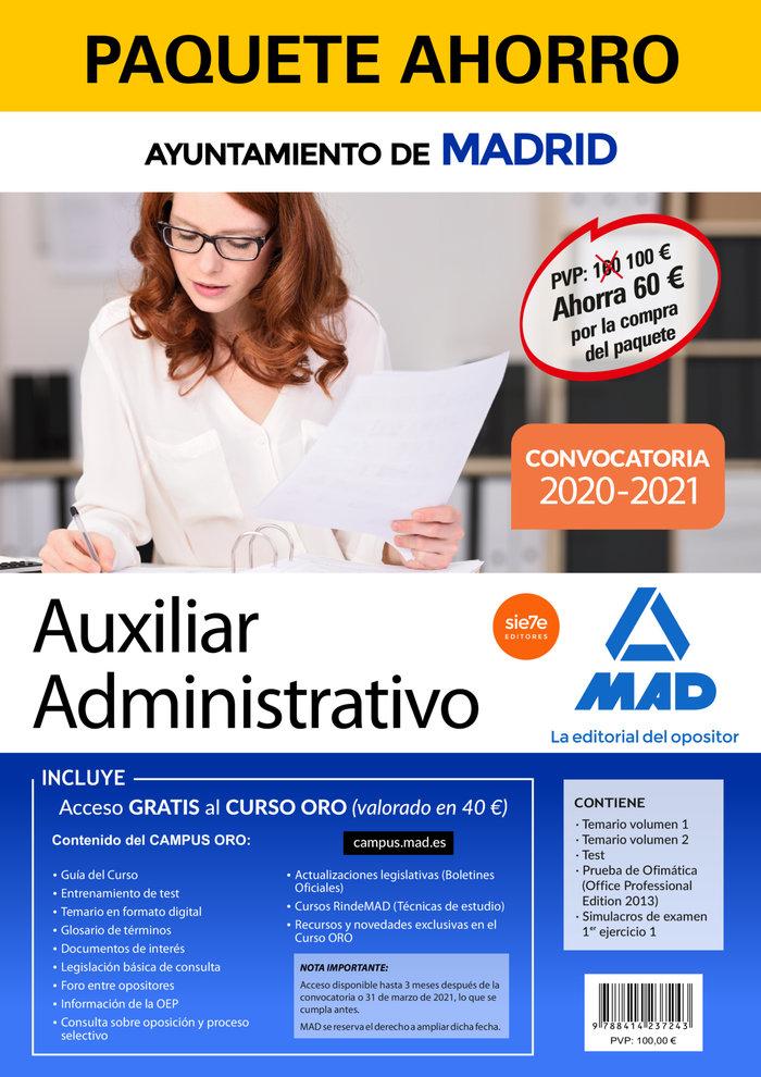 Paquete ahorro auxiliar administrativo del ayuntamiento de m
