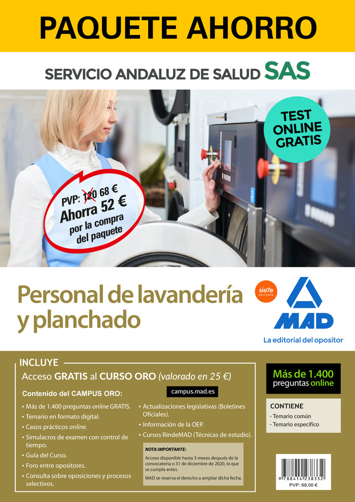 Paquete ahorro y test online gratis personal de lavanderia y