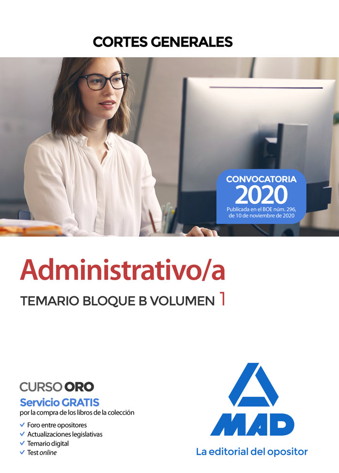 Administrativo/a cortes generales temario 1 bloque b
